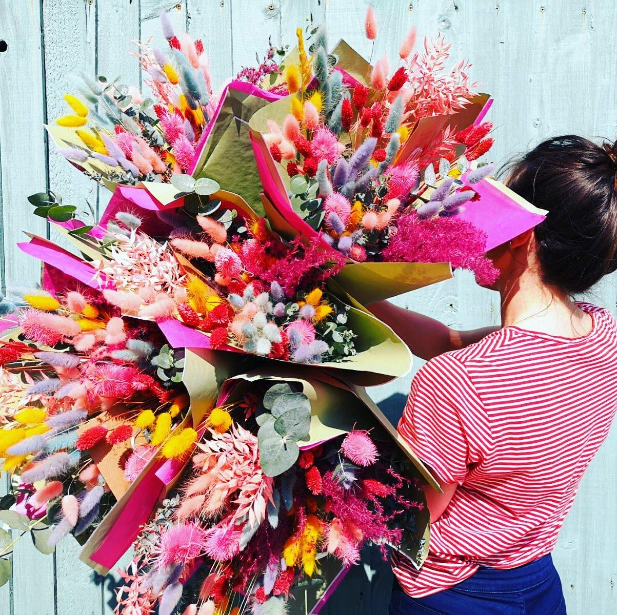 Rainbow Dried Flower Bouquet Secret Garden Bespoke Florists